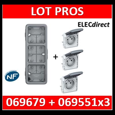 Legrand Plexo - Boîtier 3 postes verticaux - IP55/IK07 + 3 PC 2P+T 16A à câbler - 069679+069551x3