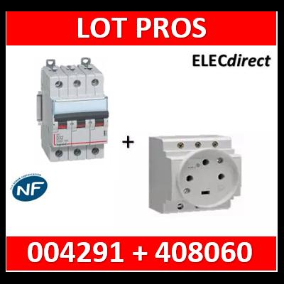 Legrand - PC 3P+T - 20A 400V à Eclips Modulaire + Protection 20A 10kA 3P  - courbe D - 004291+408060