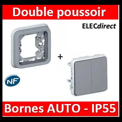Legrand Plexo - Double Poussoir encastré 10A - 230V - IP55/IK07- 069545+069681