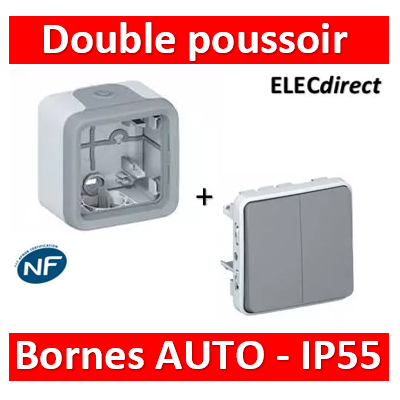 Legrand Plexo - Double Poussoir saillie 10A - 230V - IP55/IK07- 069545+069651