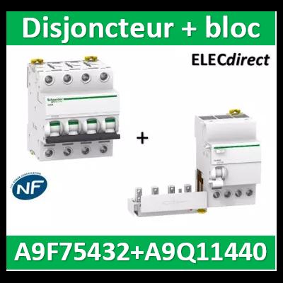 Schneider - Disjoncteur Acti9 - iC60N - 4P - 32A - 6kA - courbe D + Bloc dif. 4P 40A 30mA - A9F75432+A9Q11440