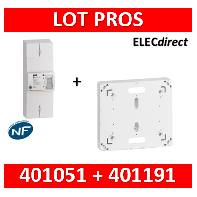 Legrand - Disjoncteur de branchement EDF 60A instantané + platine disjoncteur bipolaire - 401051+401191