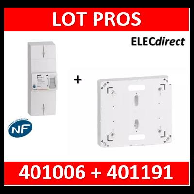 Legrand - Disjoncteur de branchement EDF 60A sélectif + platine disjoncteur bipolaire - 401006+401191