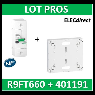 Disjoncteur de branchement EDF 60A instantané + Platine Legrand - 500mA - bipolaire - R9FT660+401191