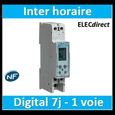 Hager - Interrupteur horaire électronique 1 voie 7j 1M - EG072