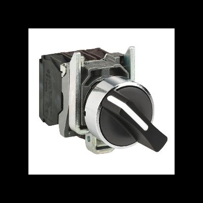Schneider - Harmony XB4 - bouton tournant - 2 positions fixes - 1F+1O - noir - Ø22 - XB4BD25