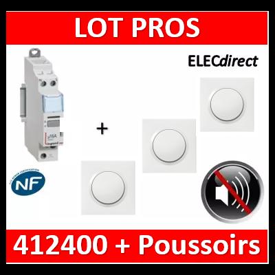 Legrand - Télérupteur CX3 silencieux unipolaire + 3 poussoirs Dooxie complet - 412400+600801x3+600004x3