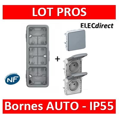 Legrand Plexo - Boîtier 3 postes verticaux - IP55/IK07 + 2 PC 2P+T 16A + V.V. - 069679+069563+069511