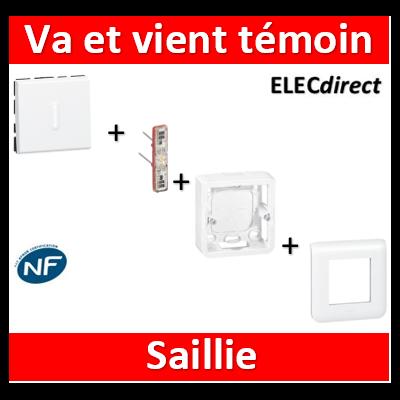 Legrand Mosaic - Va-et-Vient témoin - 2 modules - saillie complet - 10A - 077012+067688+080281+078802
