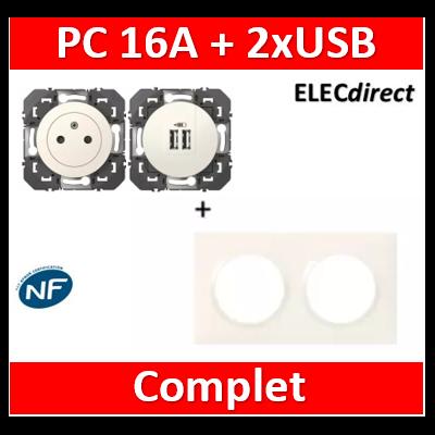 Legrand Dooxie - Prise de courant 2P+T 16A + double USB + plaque - Blanc - 600335+600343+600802