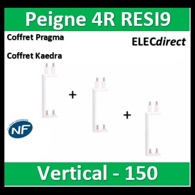 Schneider - Resi9 XP Peigne vertical 4 rangées entraxe 150mm - R9PXV150x3