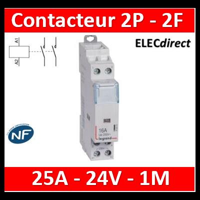 Legrand - Contacteur  bobine 24V~ 2P - 250V~ 25A - 2F - 412505