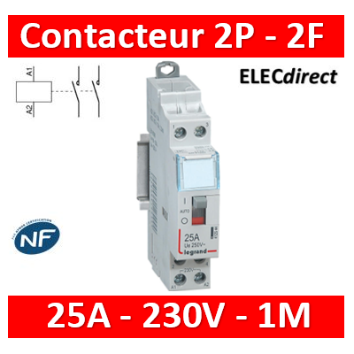 Legrand - Contacteur de puissance bipolaire bobine 230V - 25A - 2F - 412544