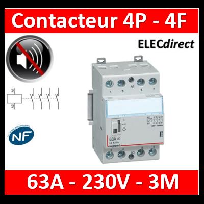 Legrand - Contacteur de puissance 4P bobine 230V - Silencieux - 63A - 4F - 3M - 412563