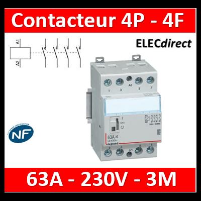 Legrand - Contacteur de puissance 4P bobine 230V - 63A - 4F - 3M - 412556
