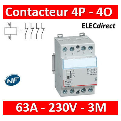 Legrand - Contacteur de puissance bobine 230 V~ - 4P - 250 V~ - 63 A - 4O - 3 mod - 412557