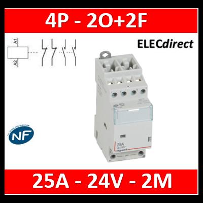 Legrand - Contacteur bobine 24V 4P-400V~ 25A-  2O+2F - 412509
