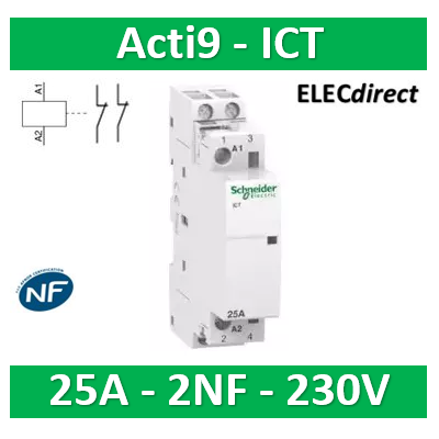 Schneider - Contacteur Acti9 - ICT - 25A - 2NF - 230/240V 50Hz - A9C20736