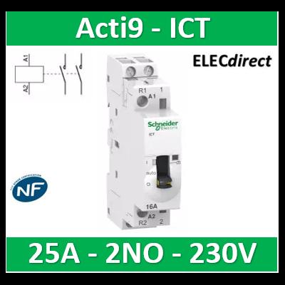 Schneider - Acti9, iCT contacteur à commande J/N 25A 2NO 230-240VCA  - A9C21732