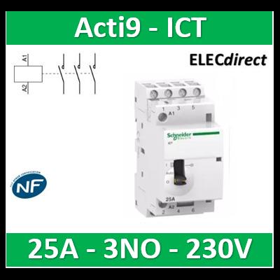Schneider - Contacteur Acti9 - J/N  - 25A - 3NO - 230/240V 50Hz - A9C21833