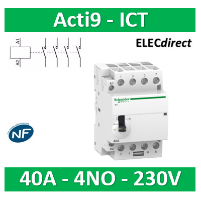 Schneider - Contacteur Acti9 - ICT - 40A - 4NO - 230/240V 50Hz - A9C21844