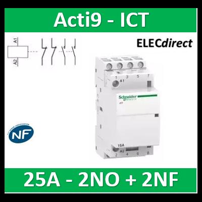 Schneider - Contacteur Acti9 - ICT - 25A - 2NF + 2NO - 230/240V 50Hz - A9C20838