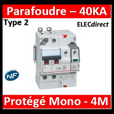 Legrand - Parafoudre  T2, protégé - Imax 40 kA/pôle- 1P+N- Icc≤4,5kA - 4 mod - 412204