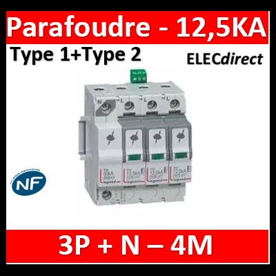 Legrand - Parafoudre  typeT1 + typeT2 Iimp 12,5kA/pôle - 4P - 4 modules - 412275