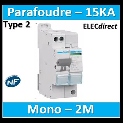 Hager - Parafoudre Mono auto-protégé 15KA - SPN715D
