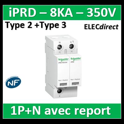 Schneider - Acti9, iPRD 8r parafoudre 8 KA 350V 1PN avec report signalisation - A9L08501