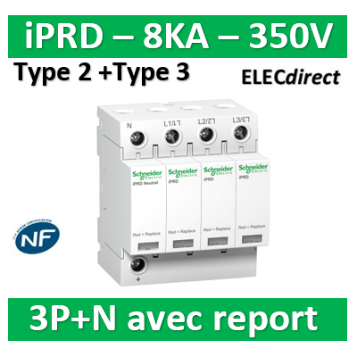 Schneider - Acti9, iPRD 8r parafoudre 8 KA 350V 3PN avec report signalisation - A9L08601