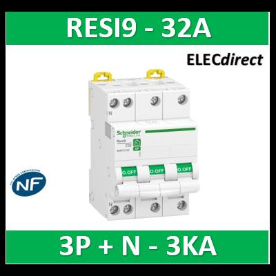 Schneider RESI9 - disjoncteur modulaire - 3P+N - 32A - courbe C - peignable - R9PFC732