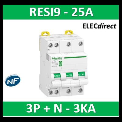 Schneider RESI9 - disjoncteur modulaire - 3P+N - 25A - courbe C - peignable - R9PFC725