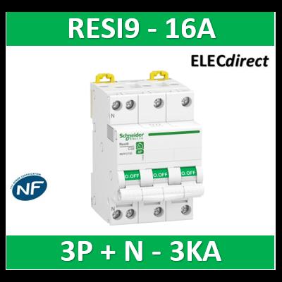 Schneider RESI9 - disjoncteur modulaire - 3P+N - 16A - courbe C - peignable - R9PFC716