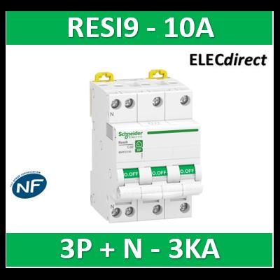 Schneider RESI9 - disjoncteur modulaire - 3P+N - 10A - courbe C - peignable - R9PFC710