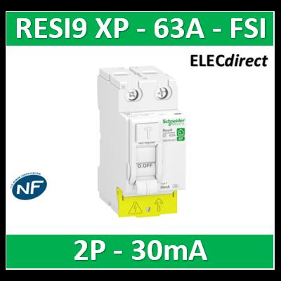 Schneider - RESI9 XP - interrupteur différentiel - 2P - 63A - 30mA - Type Fsi - peignable - R9PRF263