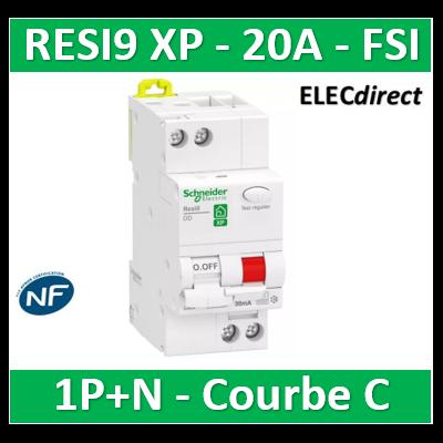 Schneider - Resi9 XP - disjoncteur différentiel - 1P+N - 20A - 30mA - courbe C - type Fsi - R9PDCF20
