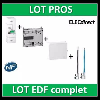 Schneider - LOT EDF - Disjoncteur EDF 60A fixe + platine + habillage + porte + Embouts PH+N 60A