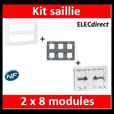 Legrand Mosaic - Kit poste de travail 2 x 8 modules - Blanc