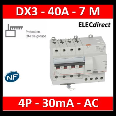 LEGRAND - Disjoncteur différentiel DX3 4P - 40A - 30ma - AC - 411201