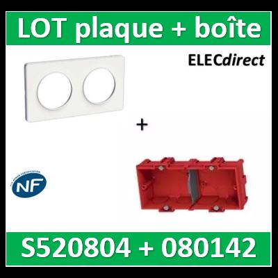 Schneider Odace - Plaque 2 postes + Boîte Batibox à sceller Legrand 2 postes - Hor/vert - s520804+080142