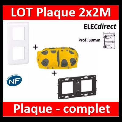 Legrand Mosaic - LOT - Plaque 2x2 modules - vertical - 078822+080252+080032