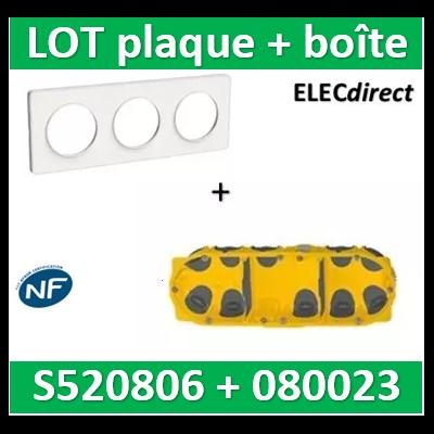 Schneider Odace - Plaque 3 postes + Boîte Batibox BBC Legrand 3 postes - Hor/vert - s520806+080023