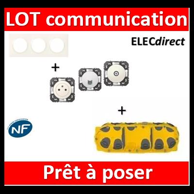Legrand Dooxie - Lot plaque triple + PC + 1 prise TV + 1 prise RJ45 + boîte Batibox BBC