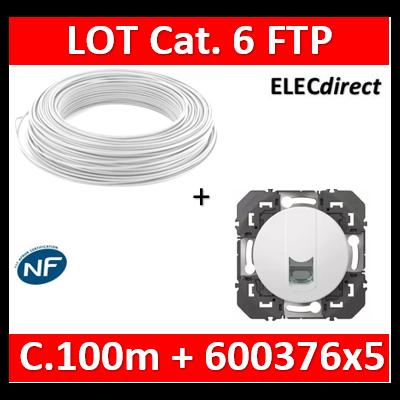 Legrand Doxie - LOT RJ45 cat 6 FTP + Câble C.100m Blanc - 600376x5 + câble cat. 6 FTP