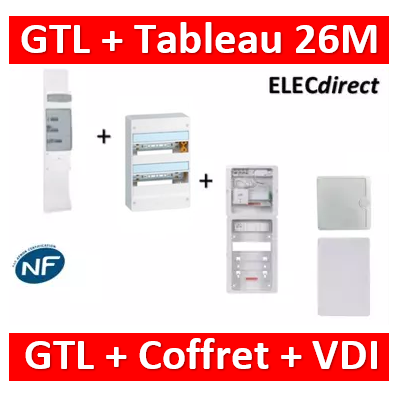 Legrand - Kit GTL 13M complet + tableau 26M + VDI 8RJ45 casanova - 030037+401212+CST625G3CUC