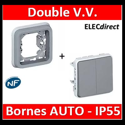 Legrand Double interrupteur ou va-et-vient Plexo encastrable IP55 10AX 250V - gris - 069525+069681