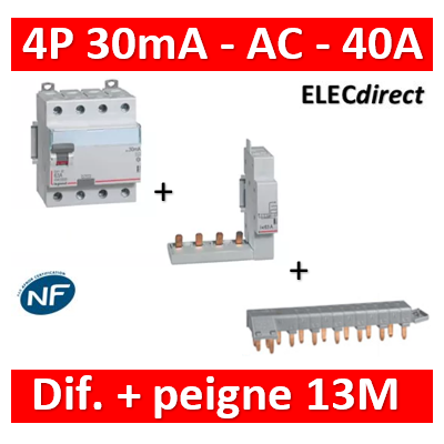 LEGRAND - Interrupteur différentiel DX3-ID 4P 40A - 30mA - AC + module 4P - 411661+406301+405201
