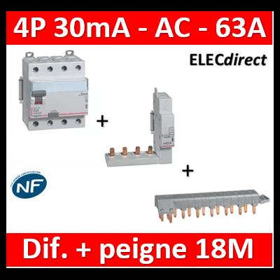 LEGRAND - Interrupteur différentiel DX3-ID 4P 63A - 30mA - AC + module 4P - 411662+406301+405202