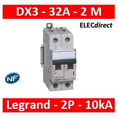 Legrand  Disjoncteur DX³ 6000A 2P 32A 400V 2 modules Réf. 407803